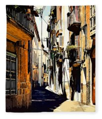 Old Spanish Street Fleece Blanket