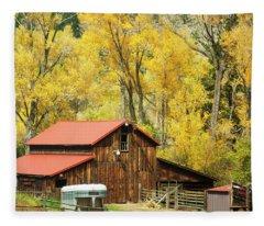 Old Time Barn In Golden Aspens Fleece Blanket