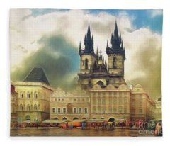 Old Town Square Prague In The Rain Fleece Blanket