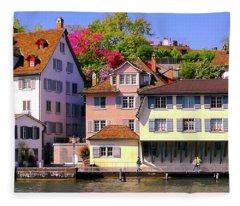 Old Town Zurich, Switzerland Fleece Blanket
