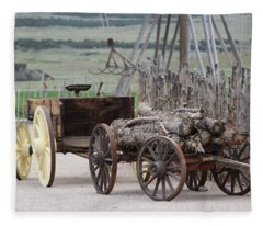 Old Tractor And Wagon In Foreground Cove Creek Fort Photography By Colleen Fleece Blanket