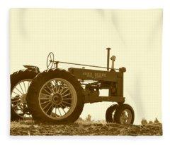 Old Tractor IIi In Sepia Fleece Blanket