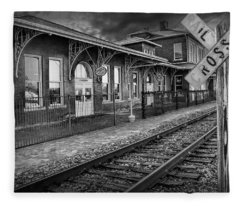 Old Train Station With Crossing Sign In Black And White Fleece Blanket