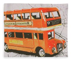 Old United Kingdom Travel Scene Fleece Blanket
