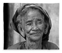Old Vietnamese Woman Fleece Blanket