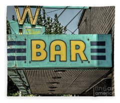 Old Vintage Bar Neon Sign Livingston Montana Fleece Blanket