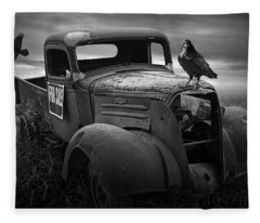 Old Vintage Chevy Pickup Truck With Ravens Fleece Blanket