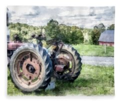 Old Vintage Tractor On The Farm Fleece Blanket