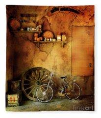 Old Warehouse Bicycle Fleece Blanket