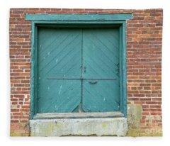 Old Warehouse Loading Door And Brick Wall Fleece Blanket
