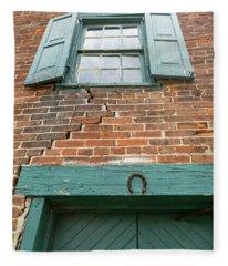 Old Warehouse Window And Lucky Door Fleece Blanket