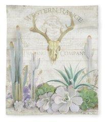 Old West Cactus Garden W Deer Skull N Succulents Over Wood Fleece Blanket