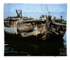 Old Wooden Fishing Boat Fleece Blanket
