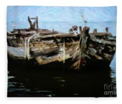 Old Wooden Fishing Boat Fleece Blanket