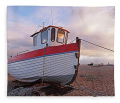 Old Wooden Fishing Boat Home By Sunset Fleece Blanket