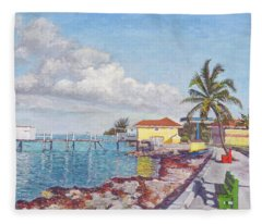 Old Yellow Gas Station By The Waterfront - Cooper's Town Fleece Blanket