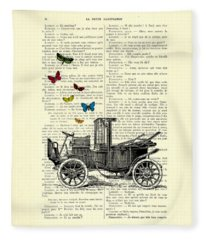 Oldtimer And Butterflies Fleece Blanket