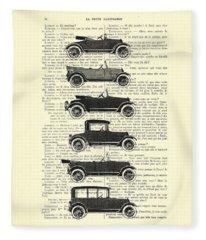 Collection Oldtimers In Black And White Vintage Illustration Fleece Blanket