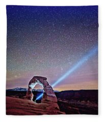 Olena Art Starry Night Pointer At Delicate Arch Moab National Park Fleece Blanket