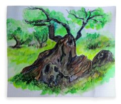 Olive Tree Fleece Blanket
