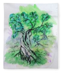 Olive Tree Grove Fleece Blanket