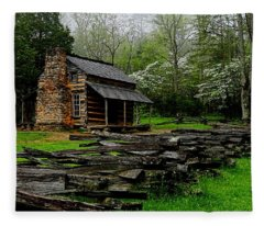 Oliver's Cabin Among The Dogwood Of The Great Smoky Mountains National Park Fleece Blanket