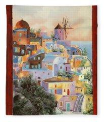 oltre la finestra il mulino a Santorini Fleece Blanket