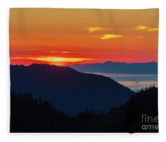 Olympic Peninsula Sunset And The Strait Fleece Blanket