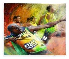 Olympics 100 M Gold Medal Usain Bolt Fleece Blanket
