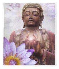 Om Mani Padme Hum - Buddha Lotus Fleece Blanket