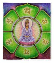 Om Mani Padme Hum Kuan Yin Fleece Blanket