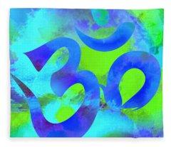 Om Symbol, Green And Blue Fleece Blanket
