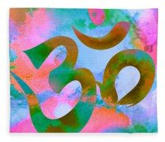 Om Symbol, Pastel Pink,blue And Green Fleece Blanket
