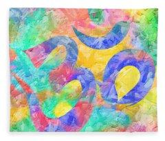 Om Symbol Rainbow Pastels 3d Fleece Blanket