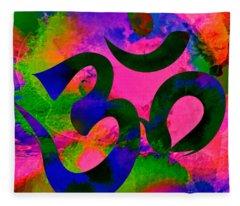 Om Symbol, Rainbow, Ver2 Fleece Blanket