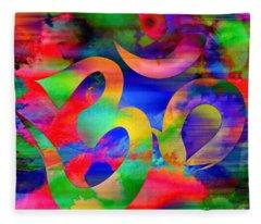 Om Symbol, Rainbow, Ver4 Fleece Blanket