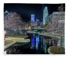 Omaha Holiday Lights Festival Fleece Blanket