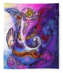 Omkareshvar Ganesha Fleece Blanket