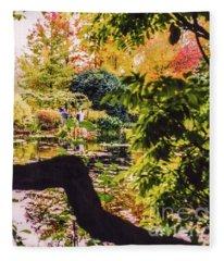 On Oscar - Claude Monet's Garden Pond  Fleece Blanket