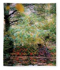 Reflection On, Oscar - Claude Monet's Garden Pond Fleece Blanket