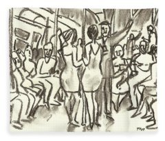 On The A, New York City Subway Drawing Fleece Blanket