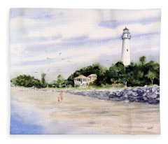 On The Beach At St. Simon's Island Fleece Blanket