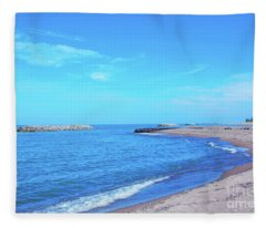 On The Beach Lake Erie Fleece Blanket