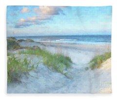 On The Beach Watercolor Fleece Blanket