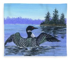 On The Lake Sketch Fleece Blanket