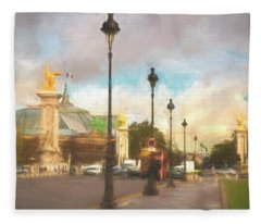 On The Pont Alexandre  Fleece Blanket