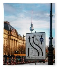 On The Road In Berlin Fleece Blanket