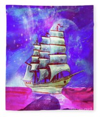 On The Sea At Sunset Fleece Blanket