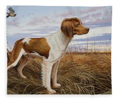 On Watch - Brittany Spaniel Fleece Blanket