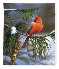 On Watch - Cardinal Fleece Blanket